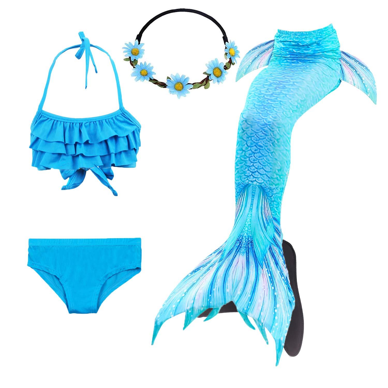 3-12 Years COZY HUT Costumi da Bagno Sirena Bambina Coda di Sirena per Nuotare Bikini 5pcs per Ragazze