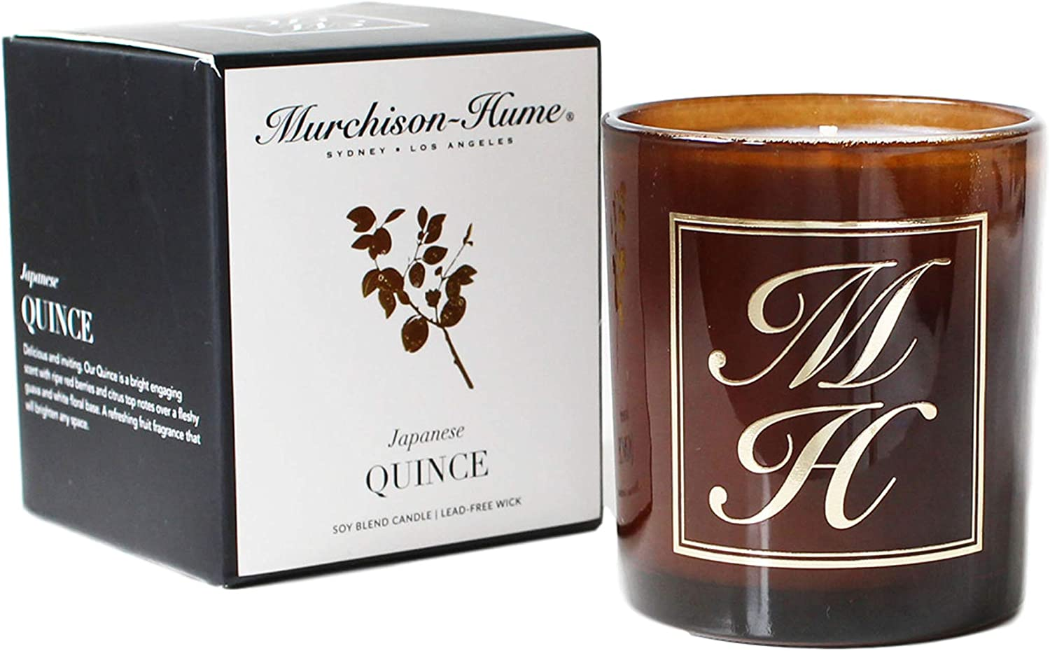 Murchison-Hume Scented Candle Soy-Blend Aromatherapy Natural Candles in Glass Jar — Japanese Quince Fragrance with 60 Hours Burn Time and Cotton Wick (8.5oz)