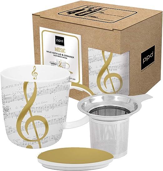 CasaJame Cocina Cubertería Vajilla Taza Grande con Tapa y Filtro Colador para Café Té de Hierbas Motivo Pentagrama Musical Oro: Amazon.es: Hogar