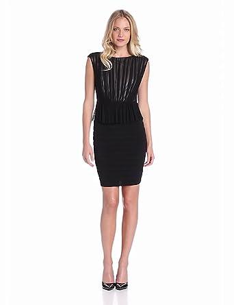 Jax Women's Jersey and Mesh Sheath Dress, Black, 8