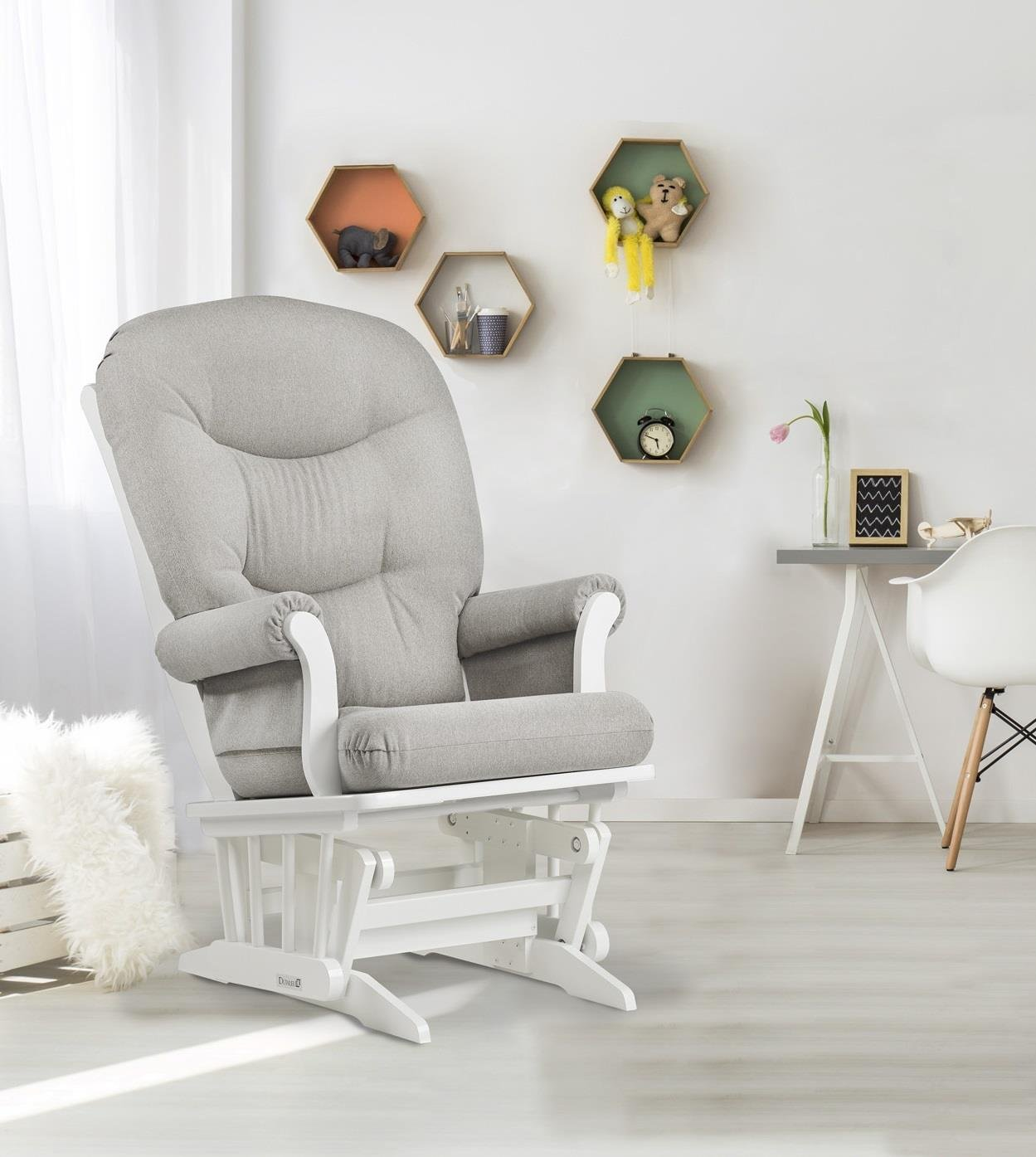 Dutailier Sleigh Glider, White/Light Grey