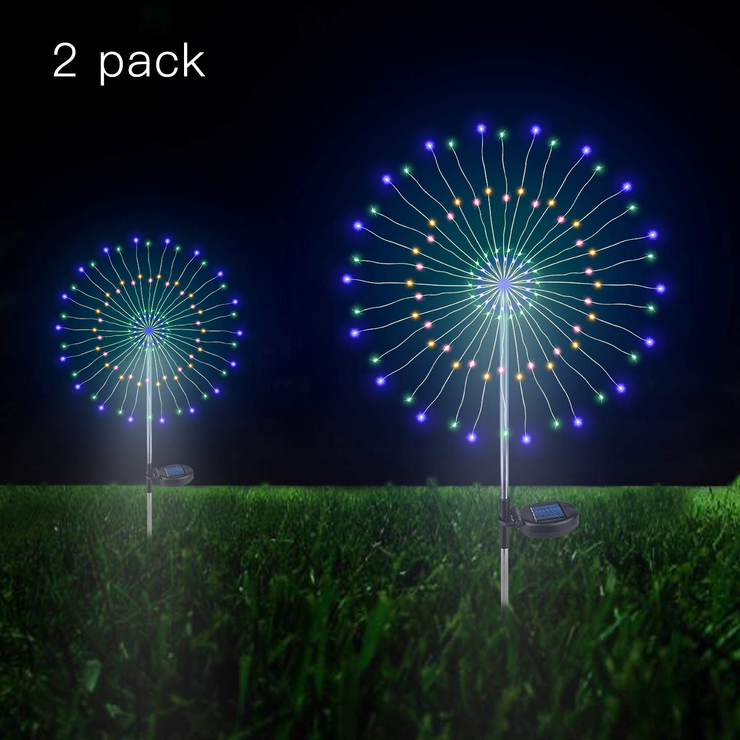 Outdoor Solar Garden Decorative Lights- 105 LED Powered 35 Copper Wires String Landscape Light-DIY Flowers Fireworks Trees for Walkway Patio Lawn Backyard,Party Decor 2 Pack (Multi -Color)
