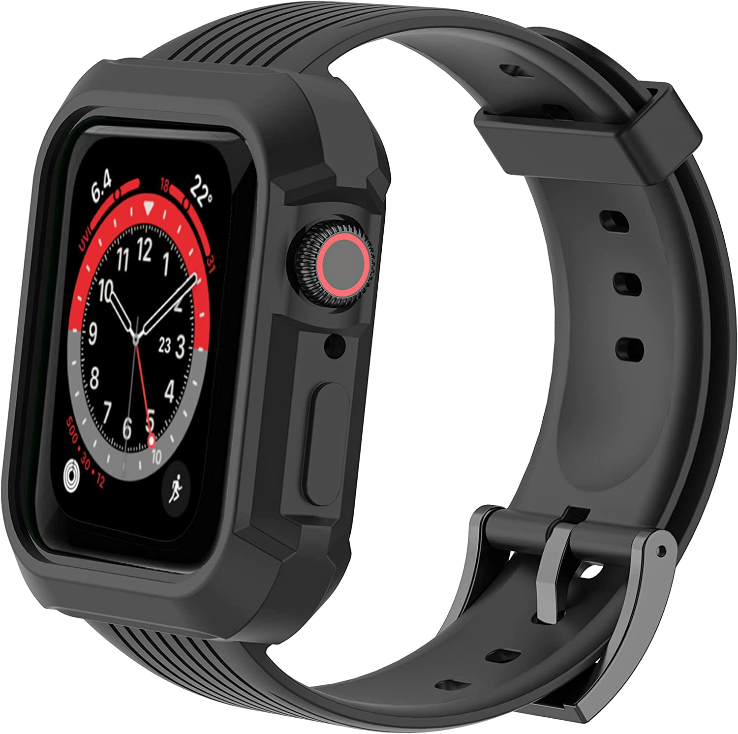 UNKNOK Compatible with Apple Watch Band 38mm 40mm 42mm 44mm Men Women Bands for iWatch Series SE 6 5 4 3 2 1, Rugged Protective Sports Wristband with Bumper Case for Wen Women Teenagers