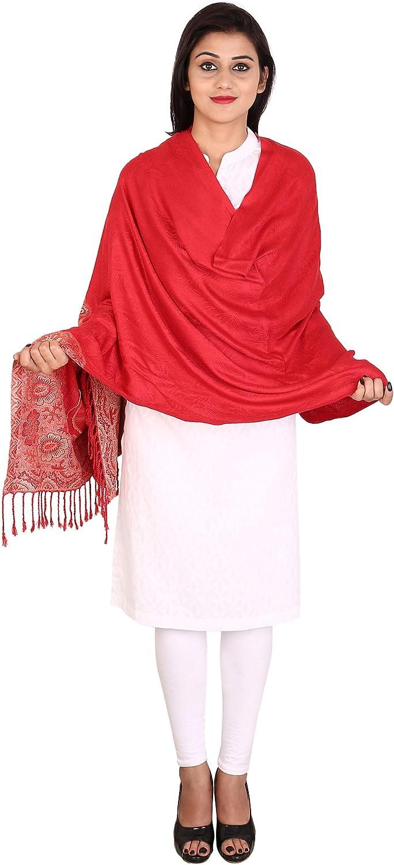 70x200 cm Red Anekaant Floral Viscose Jacquard Shawl