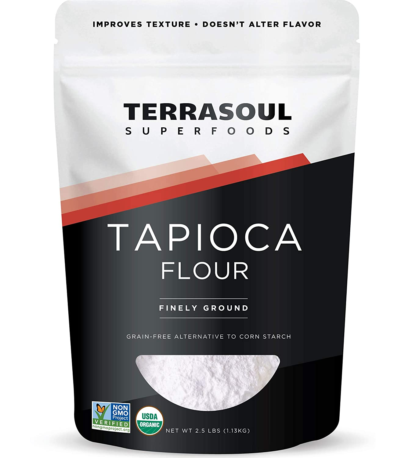 Terrasoul Superfoods Organic Tapioca Flour Starch, 2.5 Lbs - Gluten-free | Improves Texture for Keto Baking | Doesn't Alter Flavor