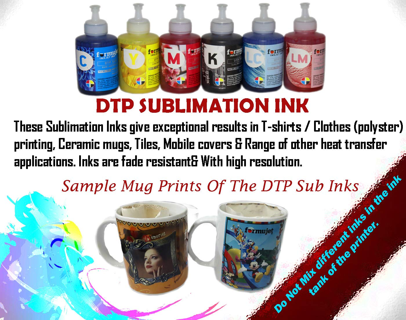 Formujet Sublimation Ink Dtp Sub For Epson Printer L800 L1800 L810 Print Head 1390 New Original L805 And Heat Transfer Printing On Ceramics Clothes6 Colours