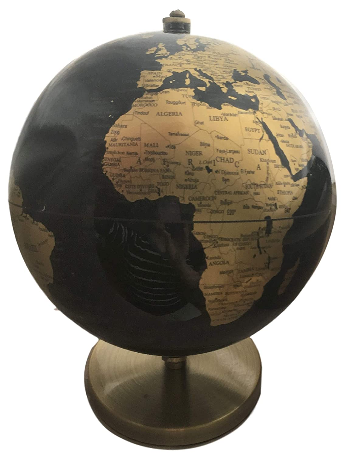 Lesser & Pavey Vintage Rotating Gold and Black World Globe with Metal Stand, h27cm LP42199