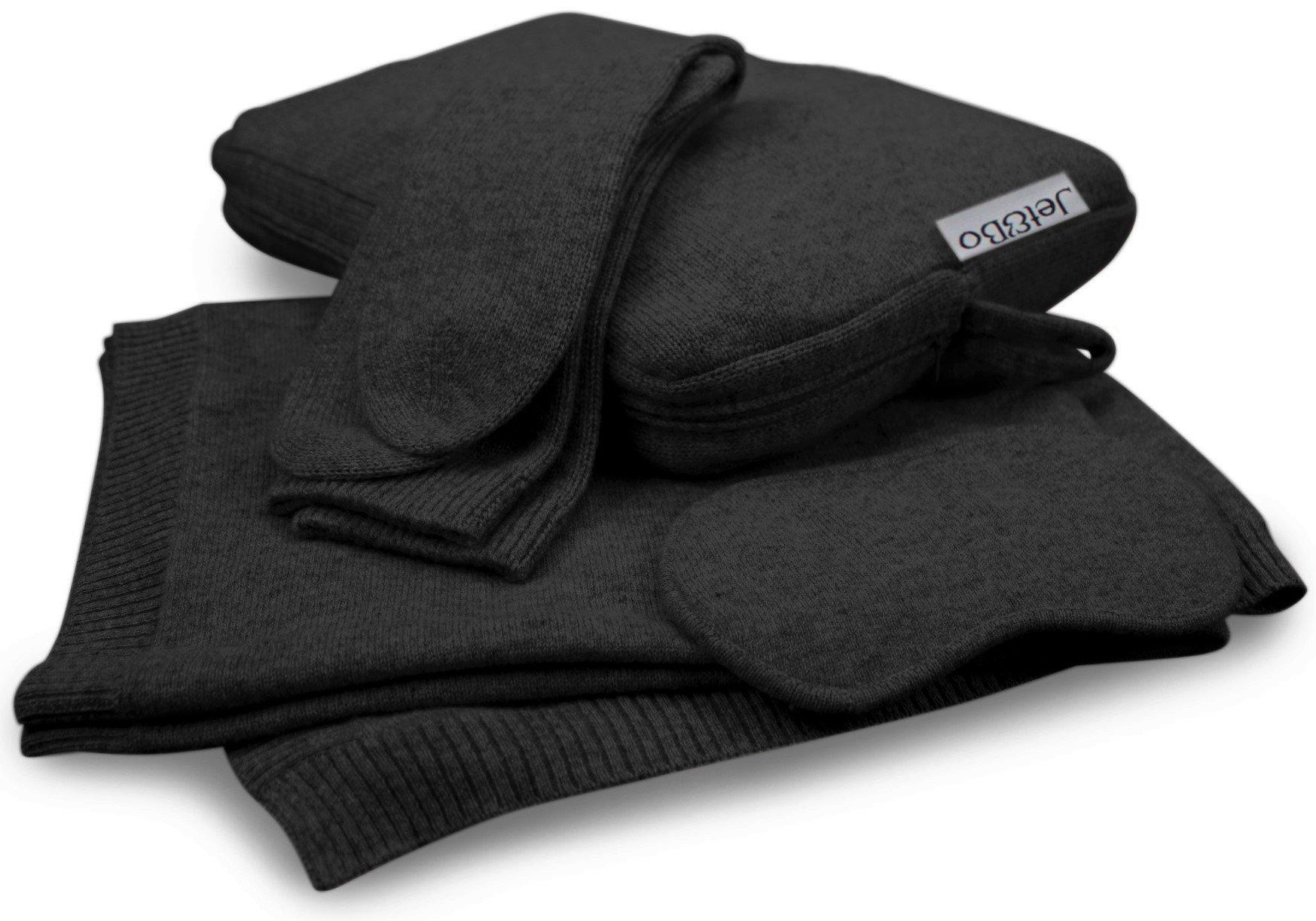 Jet&Bo 100% Cashmere Travel Set: Blanket, Eye Mask, Socks, Carry/Pillow Case Black