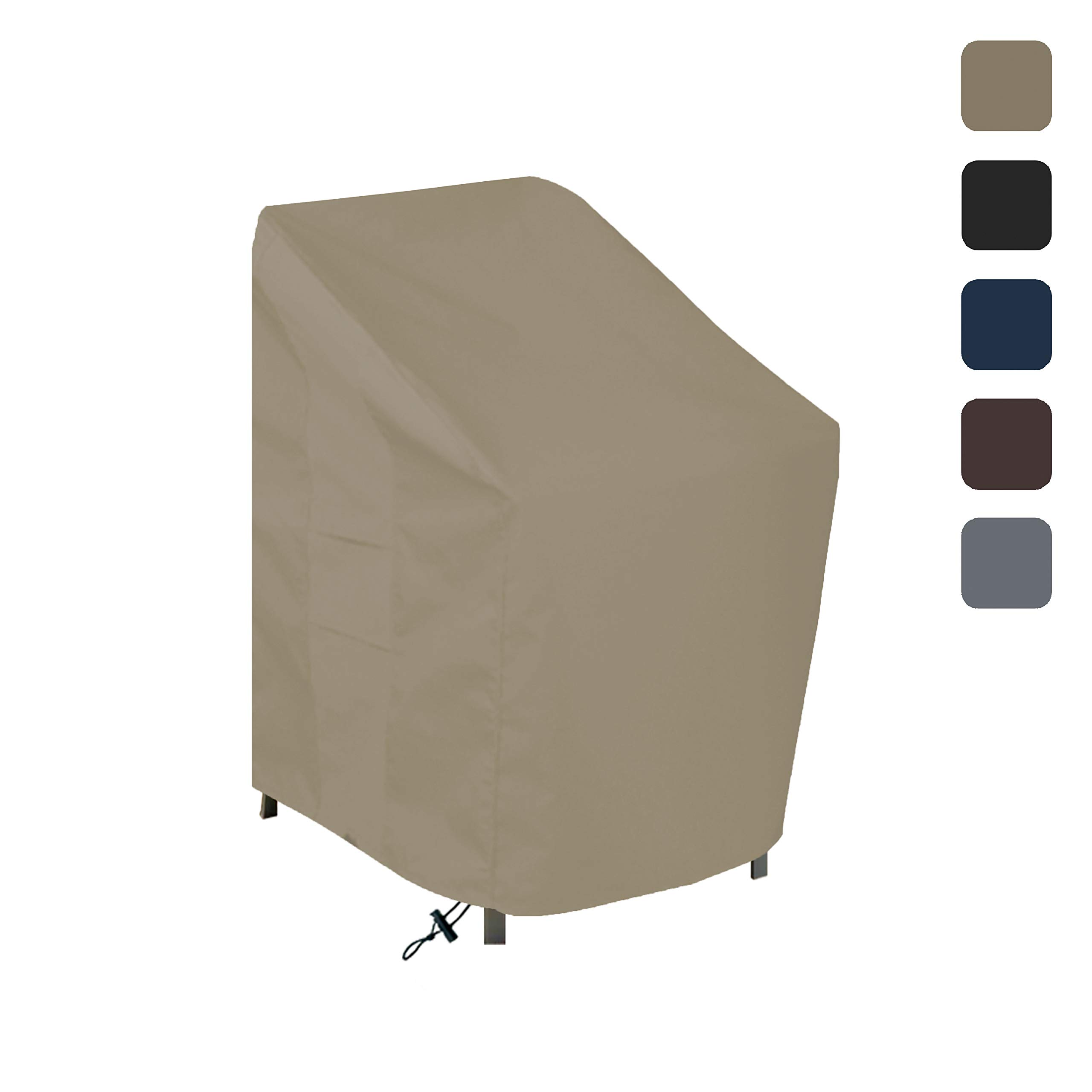 Outdoor Chair Cover 12 Oz Waterproof - 100% UV & Weather Resistant - Customize Cover - Stackable/Patio Chair Covers with Air Pockets and Drawstring for Sung fit (29W x 30D x 36H, Beige)