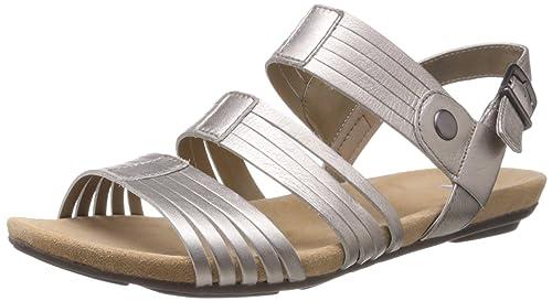 0757167cda3 Clarks Women s Olbia Shimmer Pewter Leather Fashion Sandals - 7.5 UK ...
