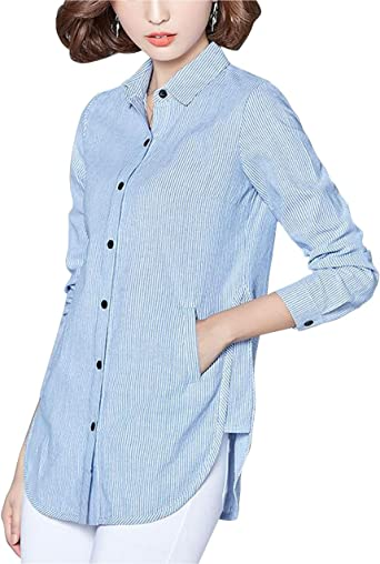 Womens Lapel Long Sleeve Casual Cotton Shirt Loose Solid Button Tops Blouse Plus