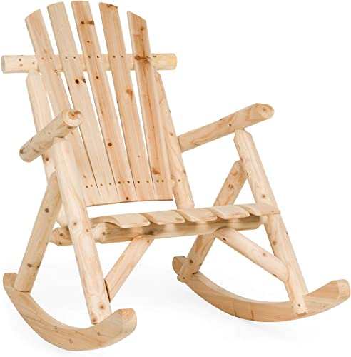 Best Choice Products Rocking Wooden Adirondack Lounger Chair Accent Furniture w/Natural Finish
