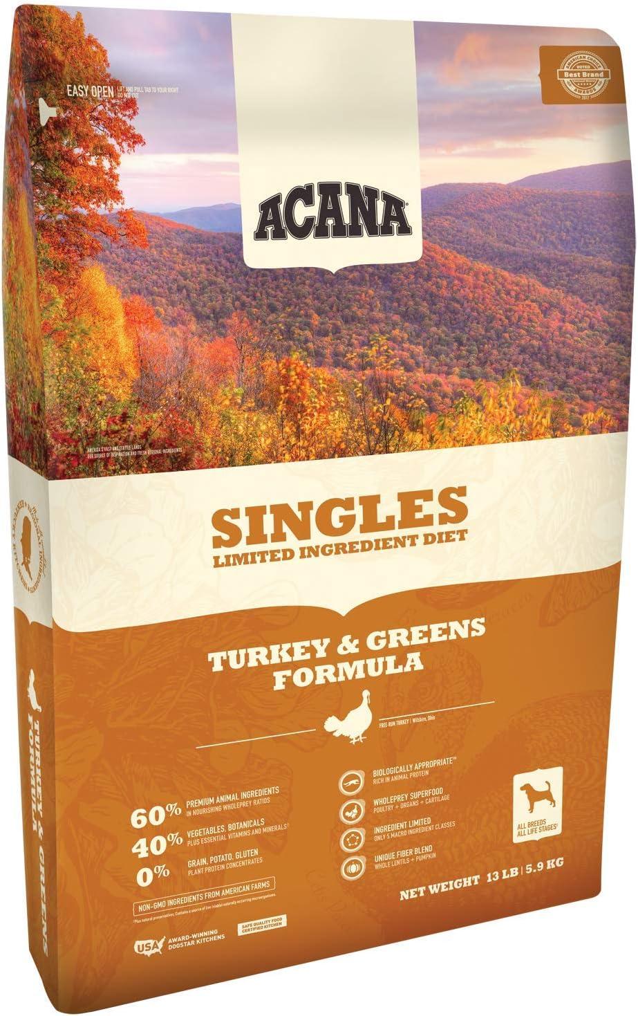 ACANA Turkey and Pumpkin Dry Dog Food 13 Lb. Bag. with Fresh Free-Run Turkey and Pumpkin Grain Free Dog Food