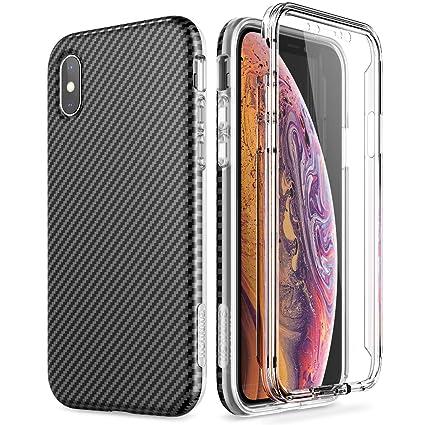 magasins d'usine en ligne Nouvelle SURITCH Compatibile con Cover Custodia iPhone X/XS Silicone 360 Gradi Nera  Antiurto Ultra Slim TPU Ultra Sottile Carbonio Indistruttibile Bumper ...