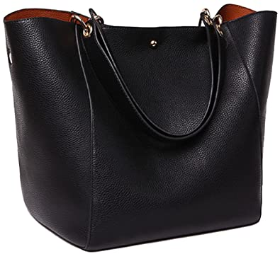 SQLP Work Tote Bags for Women s Leather Purse and handbags ladies  Waterproof Shoulder commuter Bag Black 6a7680e250acc