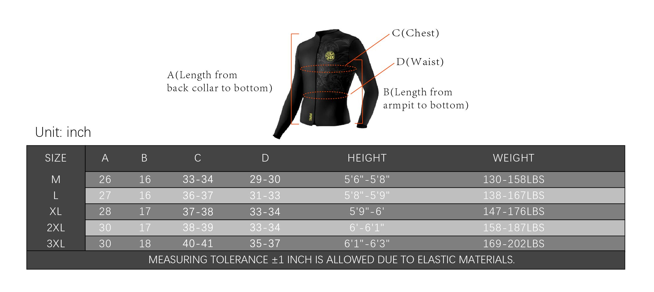 pandawoods Wetsuit top 5mm Long Sleeve Neoprene Wetsuit Jacket for Men Women by pandawoods