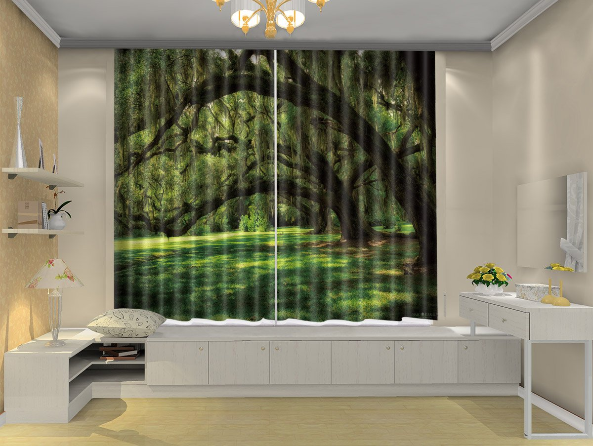 LB Teen Kids Forest Décor Room Darkening Blackout Curtains,Green Tree  Gallery 3D Window Treatment Living Room Bedroom Window Drapes 2 Panels,142  by 108 in ...