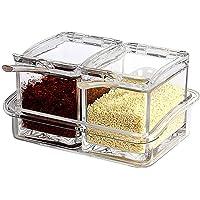 拜杰 Baijie 方形亚克力调味罐 透明调料盒 带勺盖 厨房调料罐