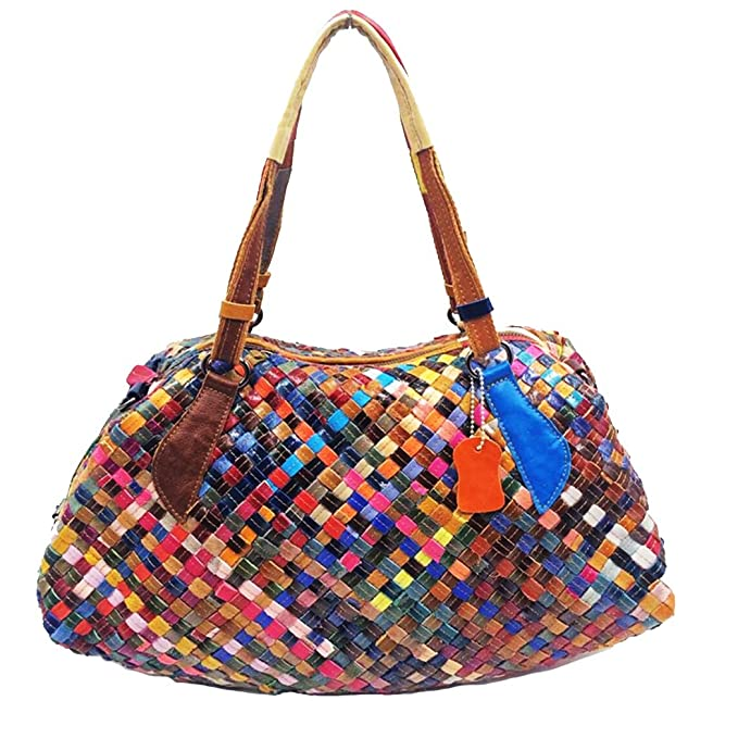 d3682a33bd45 Amazon.com  JUNBOSI Hand-woven Leather Shoulder Bag Womens Soft Leather  Handbags Large Capacity Retro Vintage Top-Handle Casual Tote Shoulder Bags  Color ...