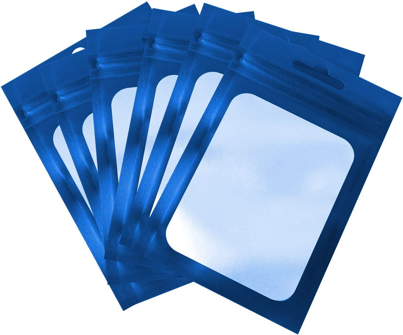100 Pieces Resealable Mylar Ziplock Food Storage Bags with Clear Window Coffee Beans Packaging Pouch for Food Self Sealing Storage Supplies,Party Favor Food Storage(Blue) (3X4.7 Inch)
