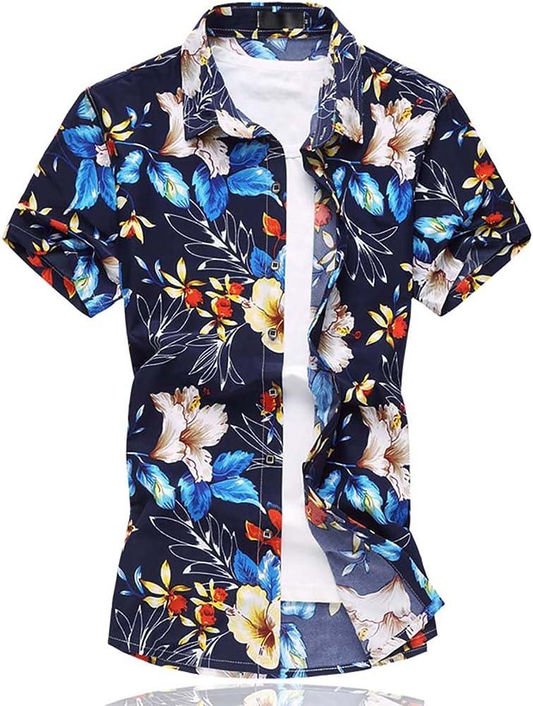 Camisas de Estampados Florales Hawaianos para Hombre Camisas de Manga Corta Camisa Informal Natación Playas Playeras de Playa Tops Impresión a Todo Color: Amazon.es: Ropa y accesorios