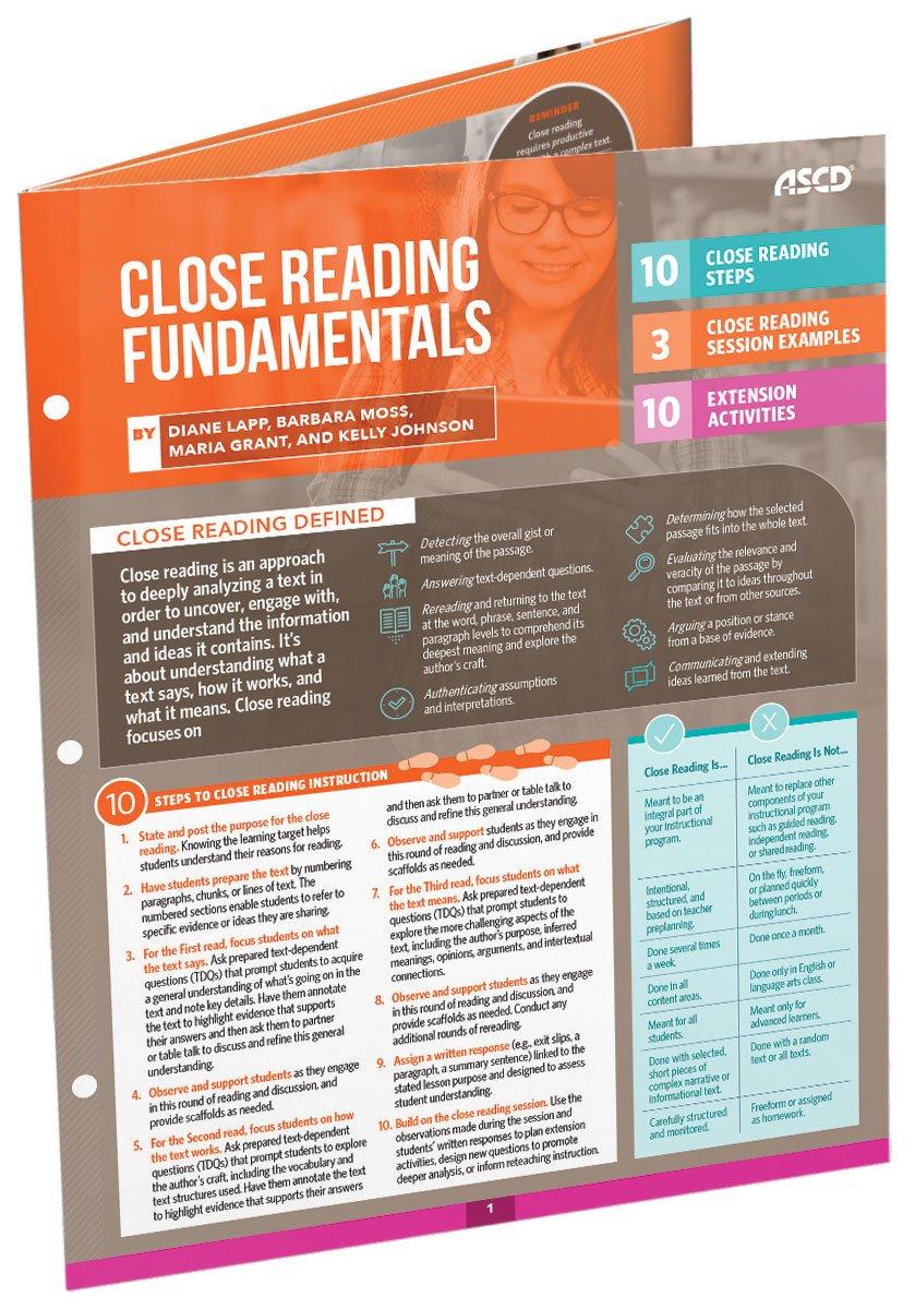 Close Reading Fundamentals (Quick Reference Guide): Diane Lapp, Barbara  Moss, Maria Grant, Kelly Johnson: 9781416624110: Amazon.com: Books