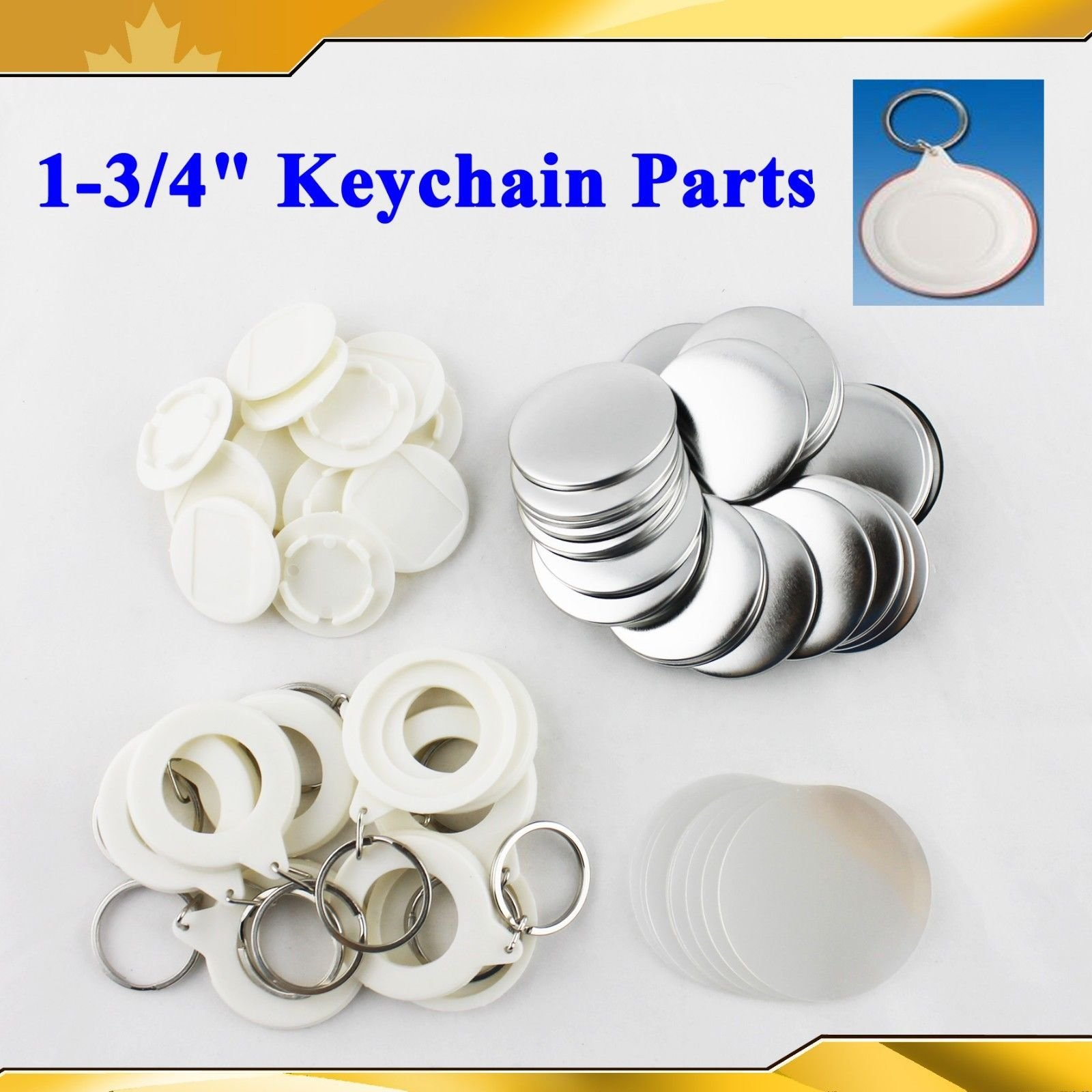 Asc365 44mm 1-3/4'' Keychain Supplies 100sets for Pro Maker Machine Commerciadiy