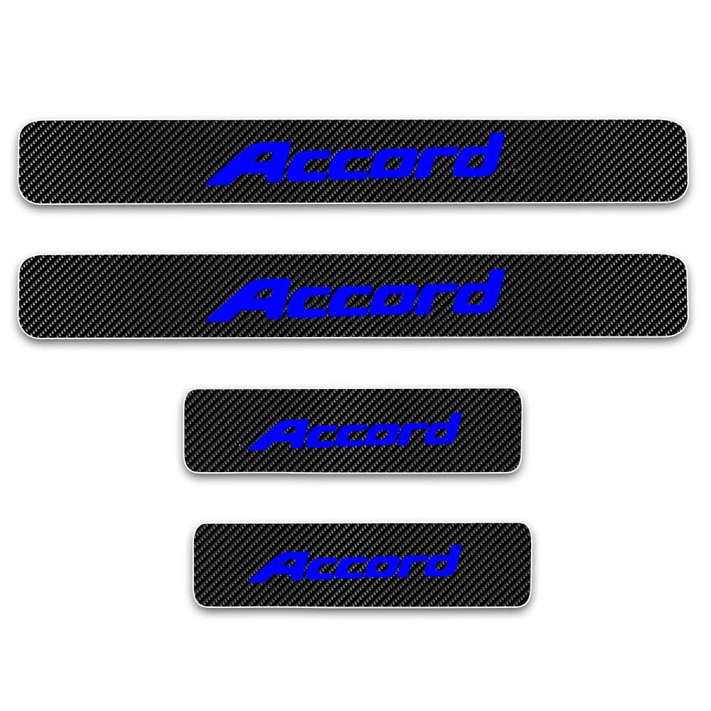 White SENYAZON Accord Decal Sticker Carbon Fibre Vinyl Reflective Car Door Sill Decoration Scuff Plate for Honda Accord