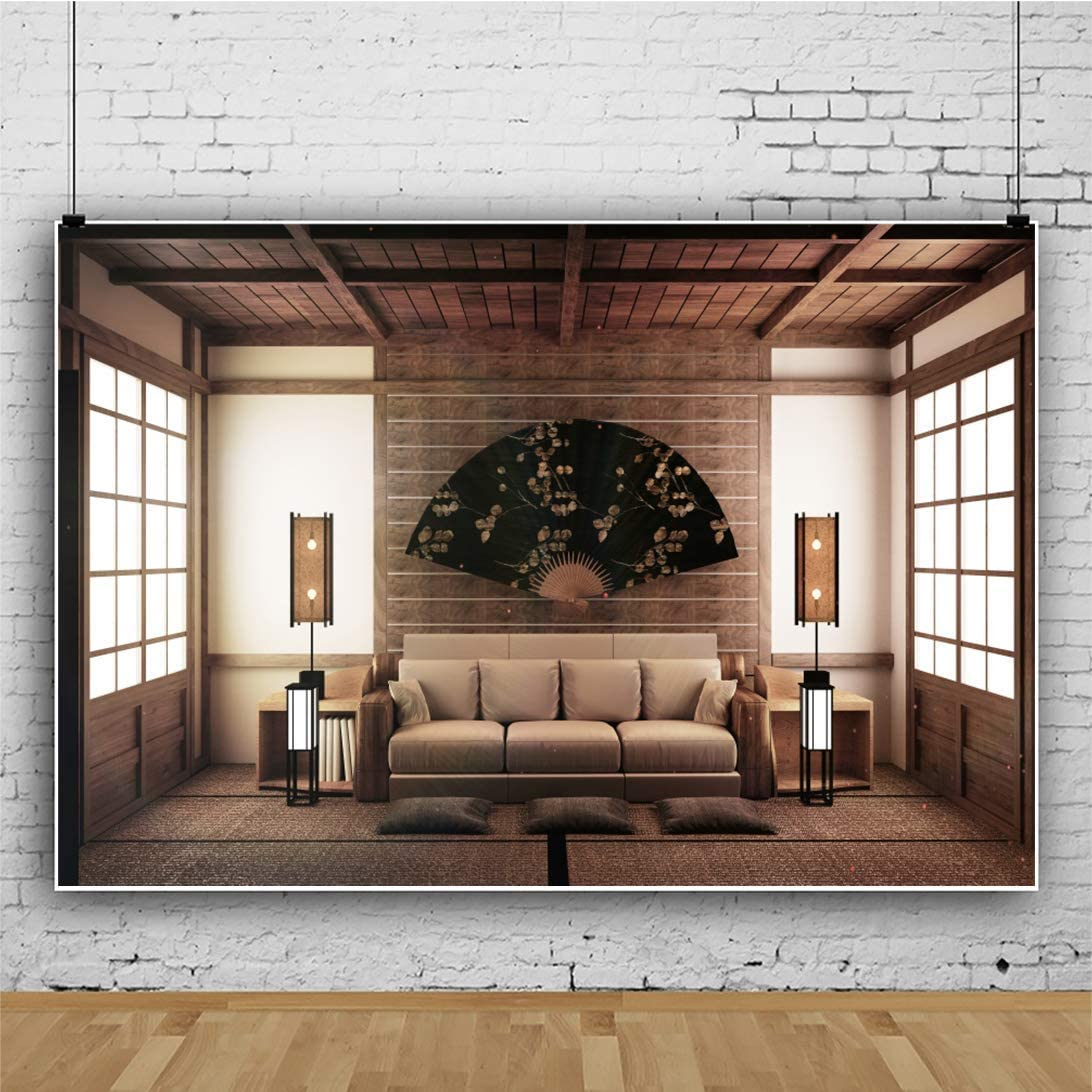 8x6ft Japan Style Backdrop Moden Sofa Fan Table Lamps Tatami Wooden Frame Windows Japanese Living Room Photography Background Video Display TV Film Production Vinyl Photo Booth Prop