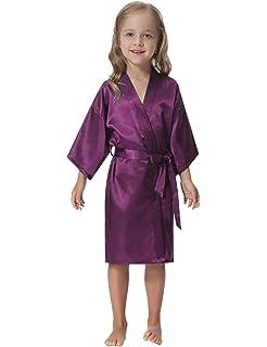 9199ba8840 Aibrou Kids  Satin Kimono Robe Bathrobe Nightgown for Spa Party Wedding  Birthday