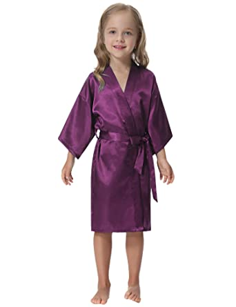 Aibrou Kid s Dressing Gown Satin Kimono Robe Bathrobe Nightgown for Spa  Wedding Birthday Party db0bad974