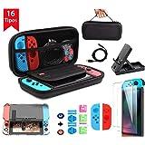 BuFan 16 en 1 Funda para Nintendo Switch, Nadole kit de accesorios con 2 Protector de Pantalla Vidrio/ Carcasa Transparente/