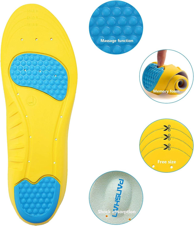 PANSHAN Sport Semelle Confort Semelles de Chaussures Comfort cuttable pour Homme et Femme Absorption des Chocs Respirant Anti Odeur Unisexe