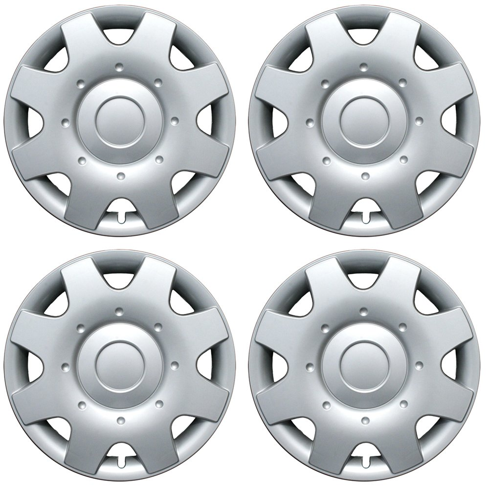 OxGord Hubcaps for Select Volkswagen (Pack of 4) Wheel Covers - 16 Inch, 8 Spoke, Snap On, Silver