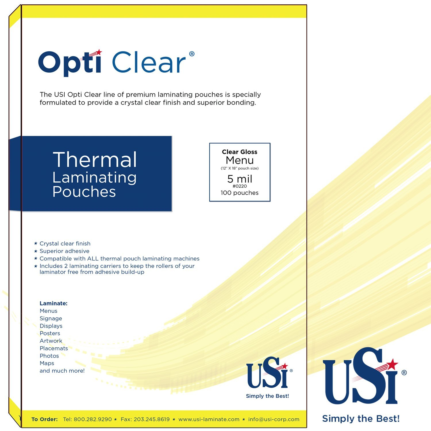 USI Opti Clear Premium Thermal (Hot) Laminating Pouches/Sheets, Menu Size, 5 Mil, 12 x 18 Inches, Clear Gloss, Pack of 200