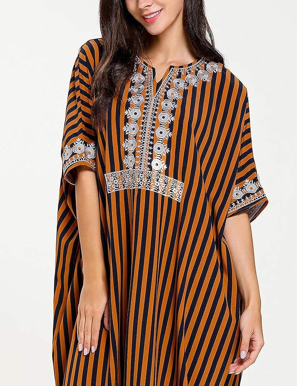 besbomig Women Kaftan Tunic Kimono Free Size Maxi Party Dress V Neck Long Cover Up Brown