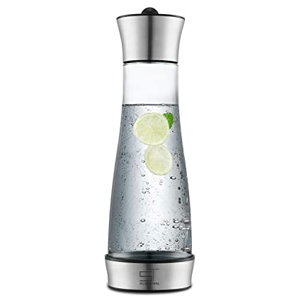 SILBERTHAL Jarra de Agua de Cristal con Tapa | Jarra con Tapa de Acero Inoxidable para