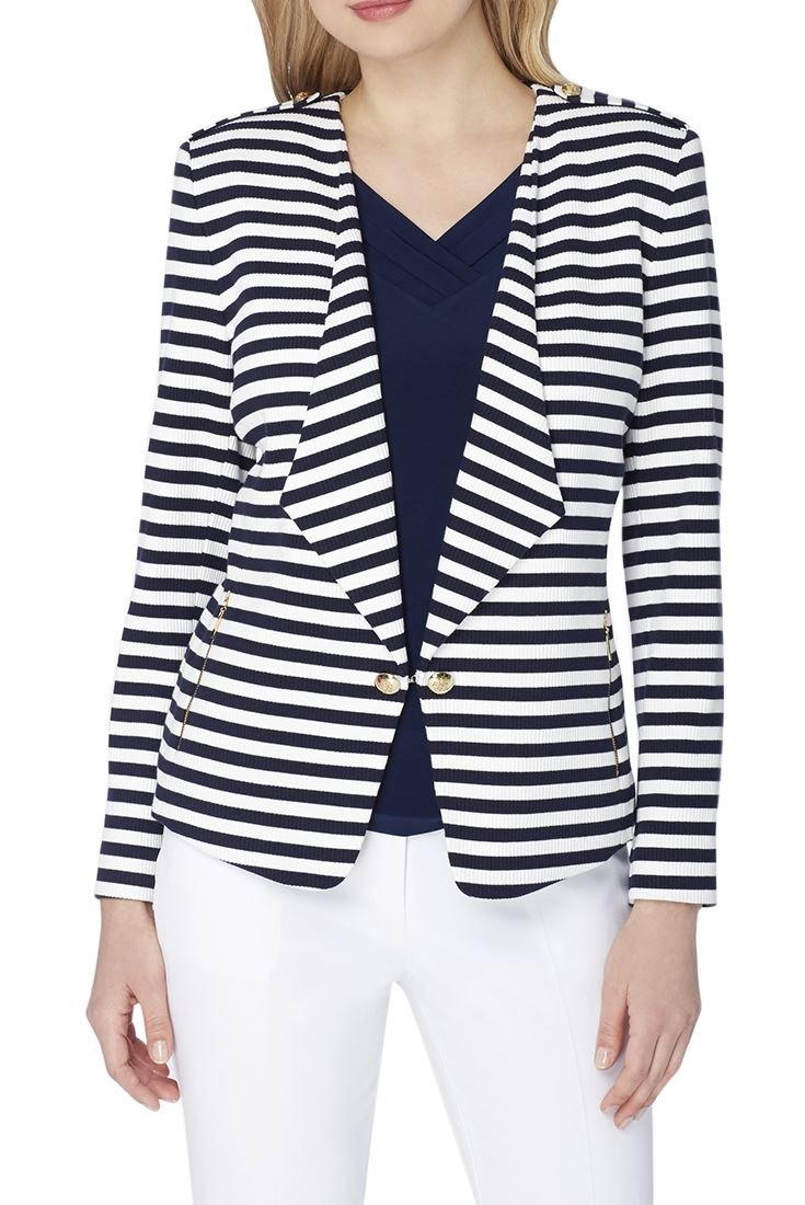 Tahari Brand - Striped Wing Collar Knit Jacket - Navy White - 16 by Tahari (Image #1)