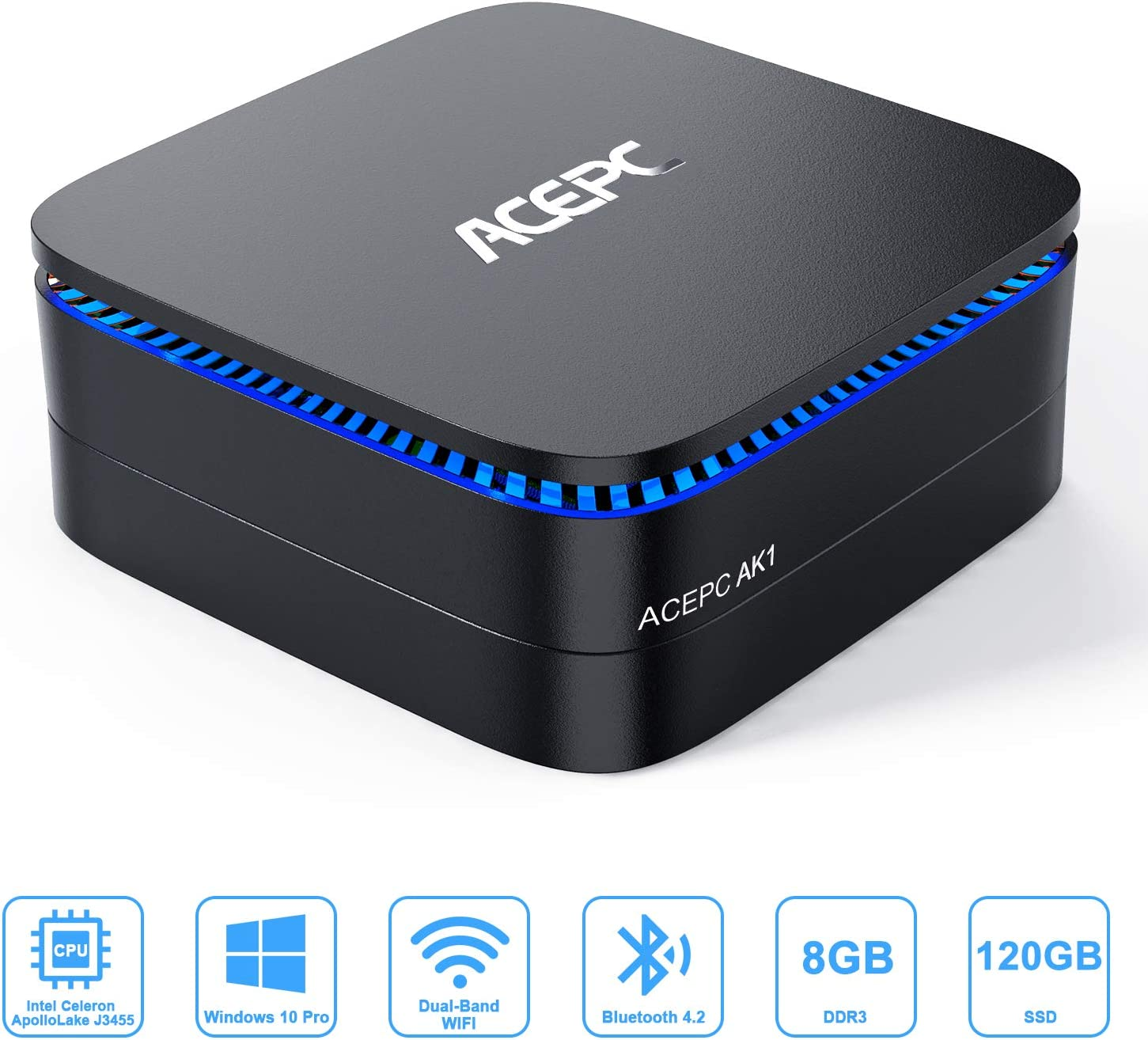 Mini PC, 8GB RAM 120GB ROM Mini Computer Intel Celeron J3455 Processor (up to 2.3GHz) Windows 10 Pro Desktop PC Dual HDMI Output, Support mSATA, 2.5-inch SSD, 4K, 2.4G/ 5.0G WiFi, Gigabit Ethernet