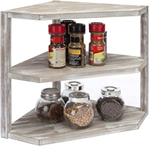 MyGift 3-Tier Rustic Whitewashed Brown Wood Kitchen Counter Top Corner Organizer Shelf