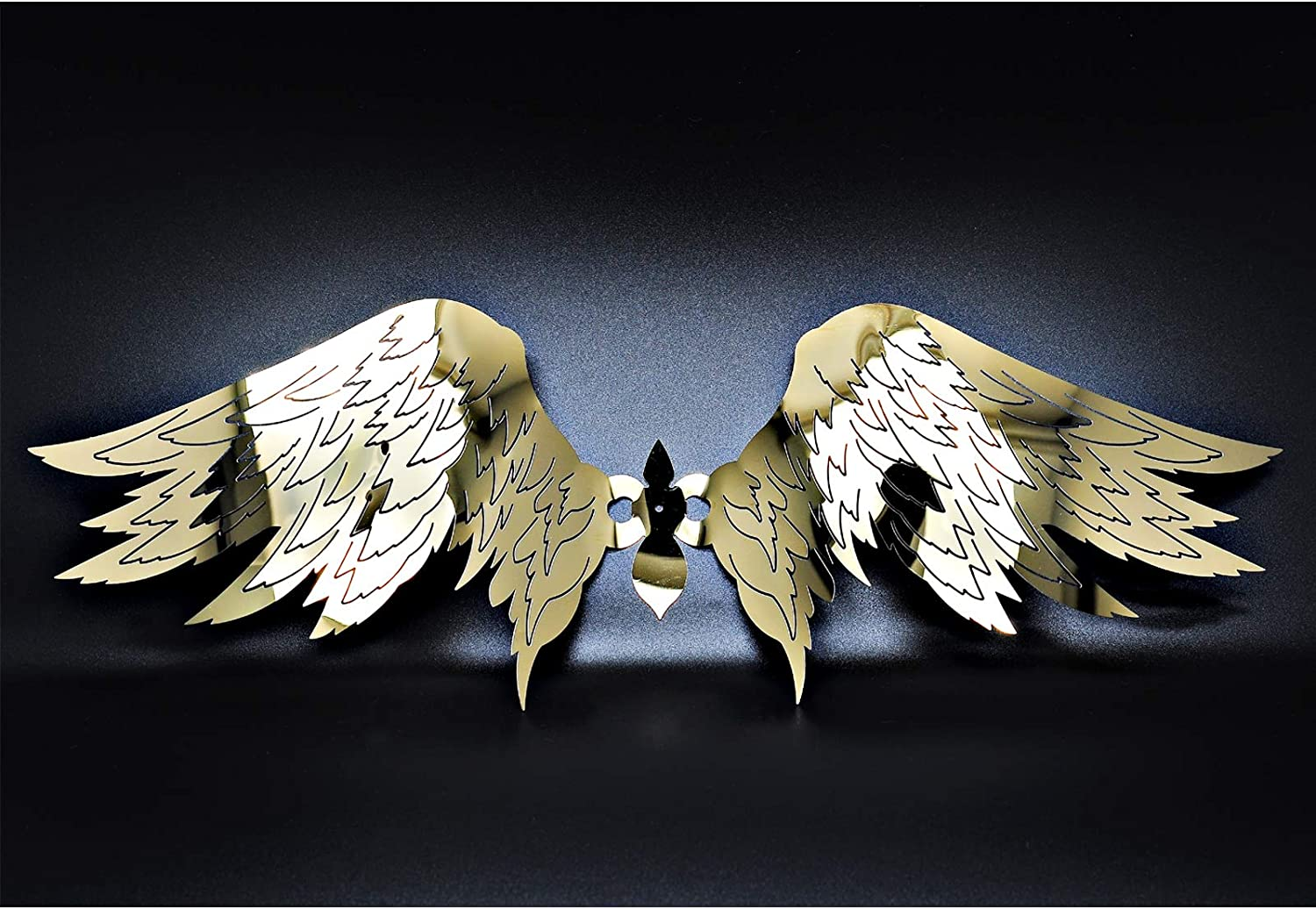 Magwen Metal Mirror Angel Wings Stainless Steel Home Decoration Sculpture, Used for Wall, Closet, Bookcase Decoration Statue (Golden)