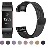 HUMENN Strap for Fitbit Charge 3, Milanese Metal Replacement Band Fully Adjustable Wristbands with Strong Magnet Lock for Fitbit Charge3, Small Large