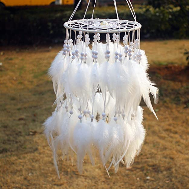 Amazon.com: Artistic Gift Hot White Feather Dreamcatcher Wind Chimes Indian Style Pendant Dream Catcher Gift: Jewelry