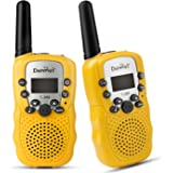 Denmer Gift Walkie Talkie UHF 462.5625-467.7250MHz 22CH LCD Display Flashlight VOX Toy 2 Way Radio For Boys and Girls (Yellow,2 pcs)