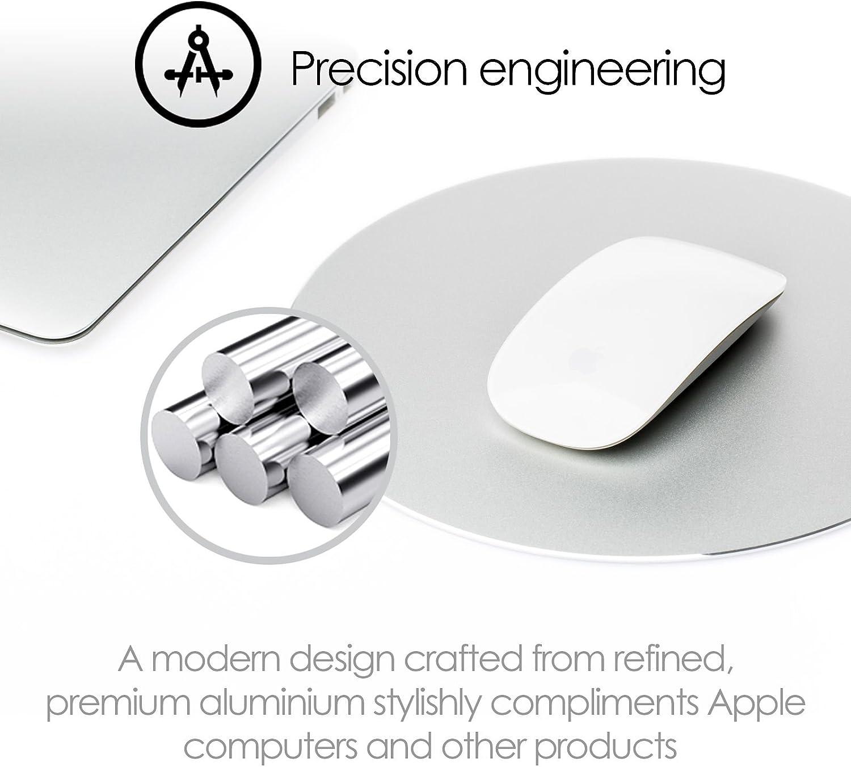 Laptop iMac MacBook Maus Desire2 Mousepad Gaming Aluminium Mauspad Rund Wasserfest Anti-Rutsch Gummi-Unterlage kratzfreie Oberfl/äche Maus Pad kompatibel mit Apple Mac Computer Silber