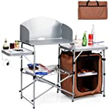 Giantex Folding Grill Table with Storage Lower Shelf and Windscreen Aluminum Folding Cook Station Quick Set-up and Lightweigh