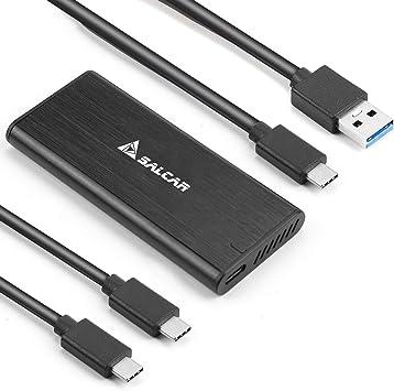 Salcar M.2 NVME Carcasa SSD externa, PCIe USB 3.1 Carcasa de disco duro adaptador, USB C para M.2 NVME SSD 2230/2242/2260/2280, soporte UASP: Amazon.es: Electrónica