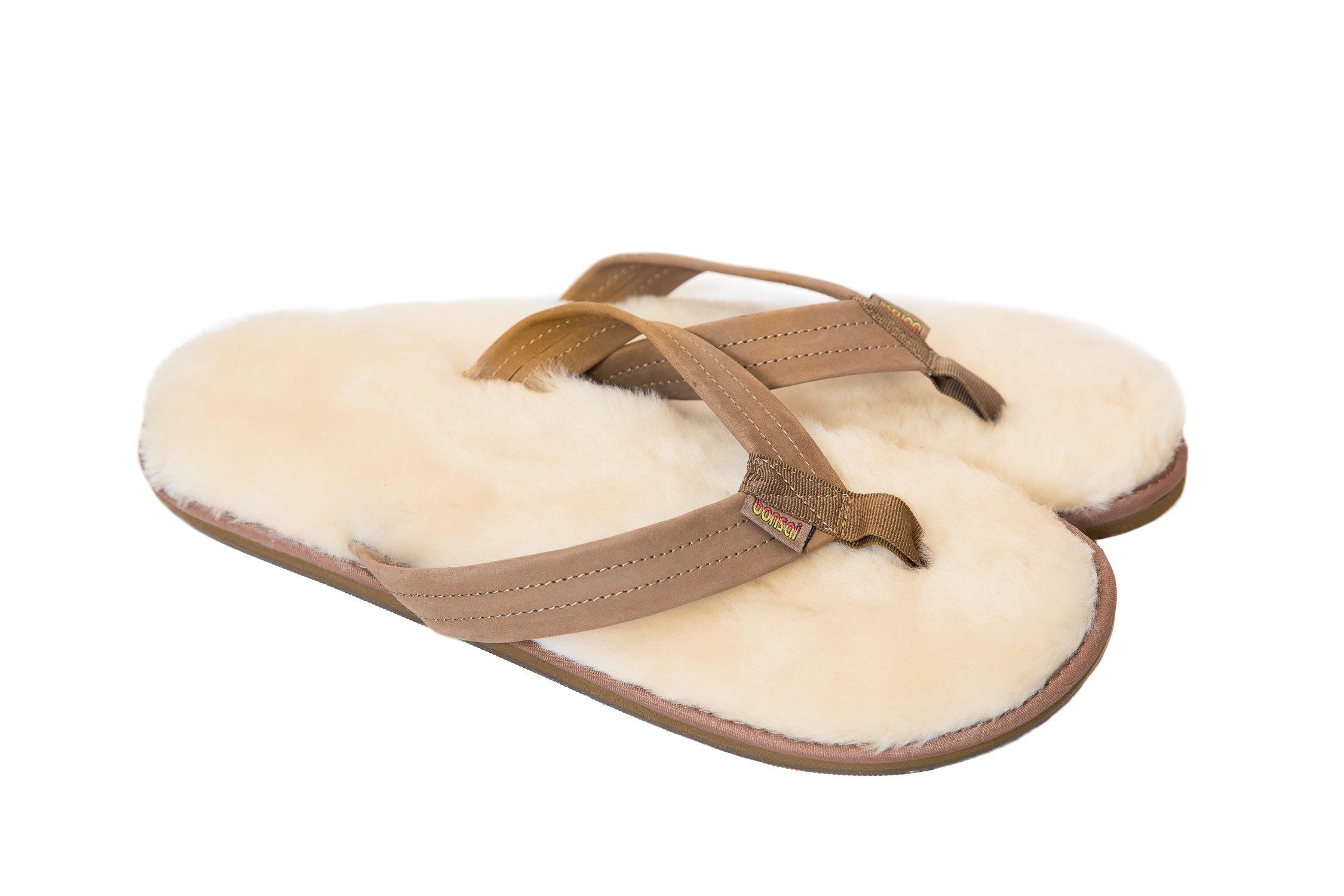 Bonsai Men's Sheepskin Sandal Flip Flops, Brown, 12 US by Bonsai Sandals (Image #2)