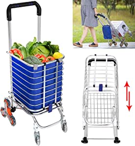 shaofu Stair Climbing Cart Grocery Carts Folding Shopping Cart with Rolling Swivel Wheels, 177 Pounds Capacity (US Stock)