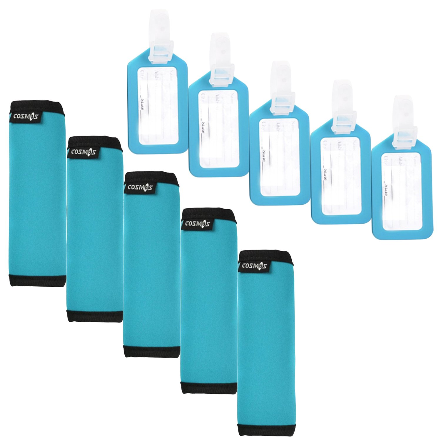 Cosmos ® 5 PCS Comfort Neoprene Handle Wraps/Grip /Identifier for Travel Bag Luggage Suitcase + 5 PCS Travel Accessories Luggage Tag Identifier (Aqua Blue) 58397